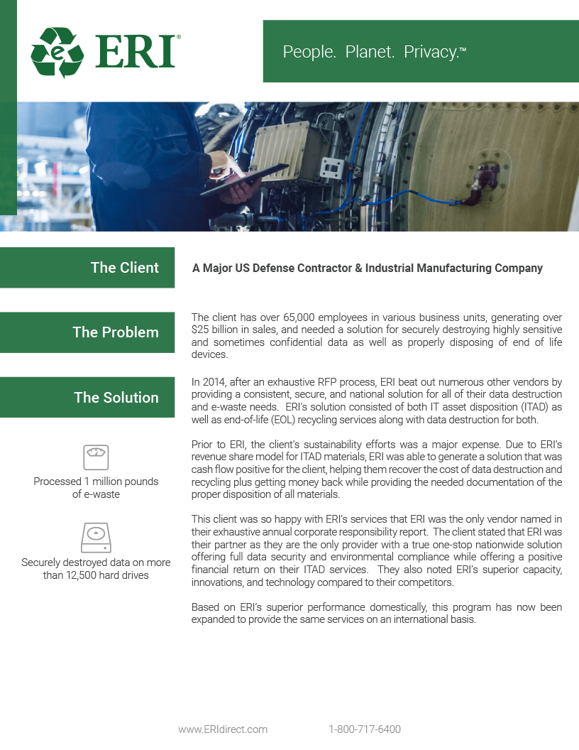 Screenshot of our US Defense Contractor & Industrial Manufacturing Company Whitepaper