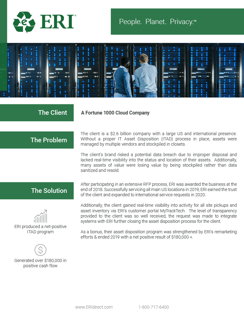 Screenshot of our Fortune 1000 Cloud Company Whitepaper